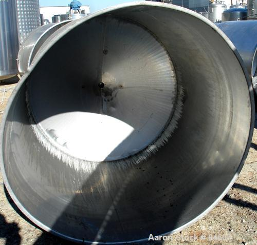 "Used- Tank, 350 Gallon, 304 Stainless Steel, Vertical. 44"" diameter x 47"" straight side. Open top, no cover, coned bottom. 2..."