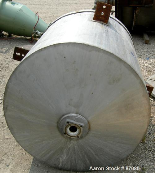 """Used- Tank, 225 gallon, 321 stainless steel, vertical. Approximate 36"""" diameter x 46"""" straight side. Flat top with a 1/2 hin..."""