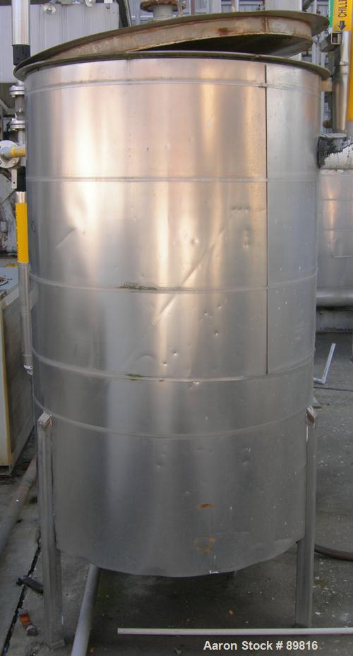 "Used- Tank,  275 Gallon, stainless steel, vertical. 38"" diameter x 60"" straight side. Flat top with removable cover, flat bo..."