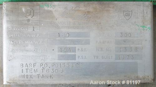 Used- 250 Gallon Stainless Steel B. Nolte & Sons Pressure Tank. Model 1HTN-1