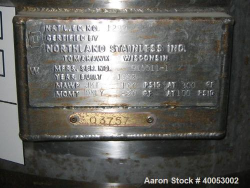 """Used: Northland Stainless Company, 16 gallons, 316L stainless steel, jacketed, vertical.  20"""" diameter x 15"""" straight side x..."""