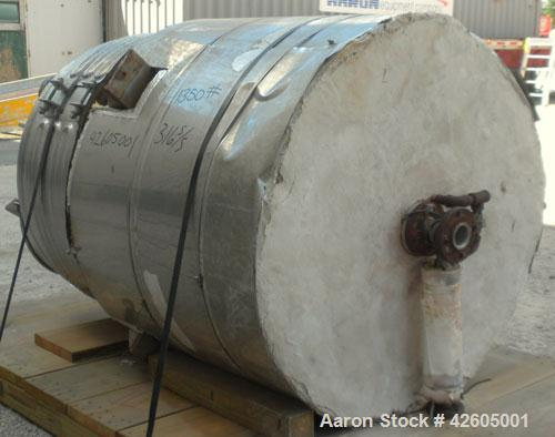 """Used- Northland Stainless Pressure Tank 300 gallon, 316L stainless steel, vertical. 42"""" Diameter x 44"""" straight side, dish t..."""