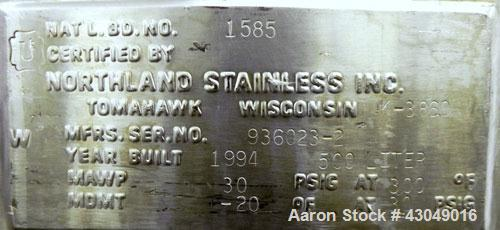 Used- Northland Stainless Pressure Tank, 500 Liter (132 Gallon), 316L Stainless Steel, Vertical. 34'' Diameter x 33'' straig...