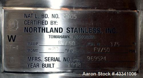 "Used- Northland Stainless Pressure Tank, 500 Liter (132.12 Gallon), 316L Stainless Steel, Vertical. 30"" Diameter x 37"" strai..."