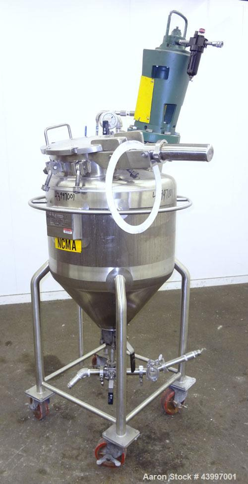 """Used- Northland Stainless Pressure Tank, 50 Gallon, 316L Stainless Steel, Vertical. 26"""" Diameter x 18"""" straight side, dished..."""