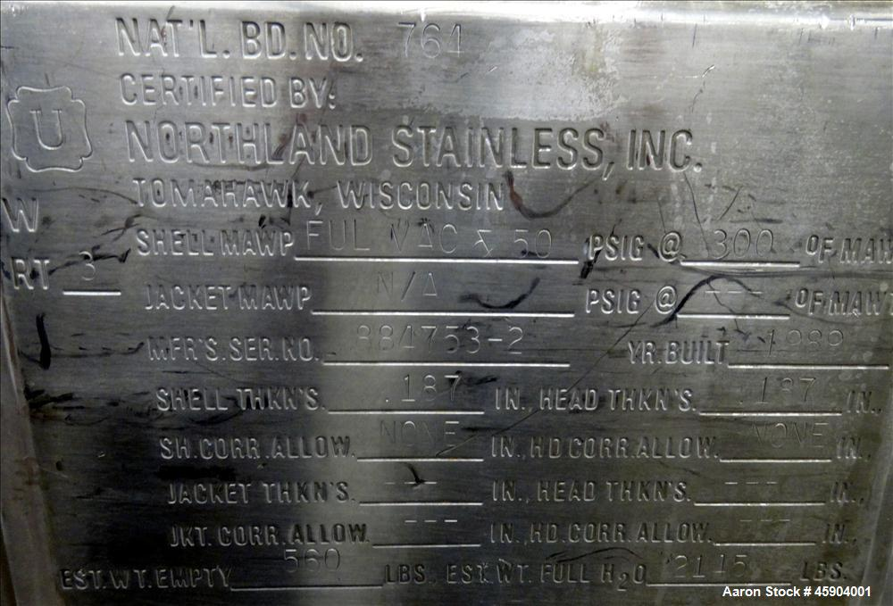 "Used- Northland Stainless Pressure Tank, Approximate 150 Gallon, 316L Stainless Steel, Vertical. 35-5/8"" Diameter x 32"" stra..."