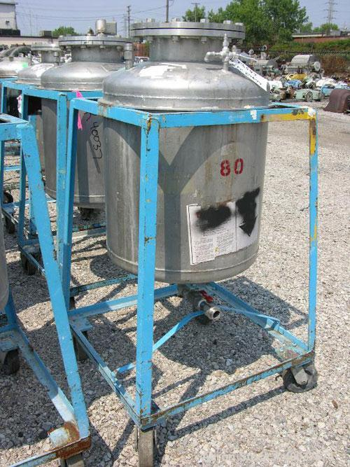 """Used- Norwalk Pressure Tank, 50 Gallon, Stainless Steel, Vertical. Approximately 24"""" diameter x 24"""" straight side, dished to..."""