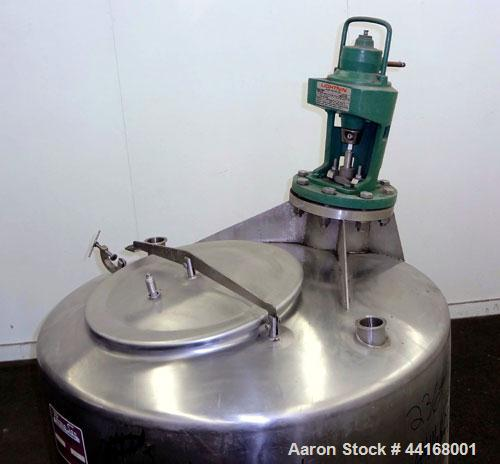 """Used- Perma-San Tank, 120 Gallon, Model CVS, 304 Stainless Steel, Vertical. 38"""" Diameter x 24"""" straight side, dished top, sl..."""