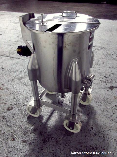 """Used- Perma-San Tank, 15 Gallon, Model OVC. Stainless steel construction, approximately 16"""" diameter x 16"""" straight side, op..."""