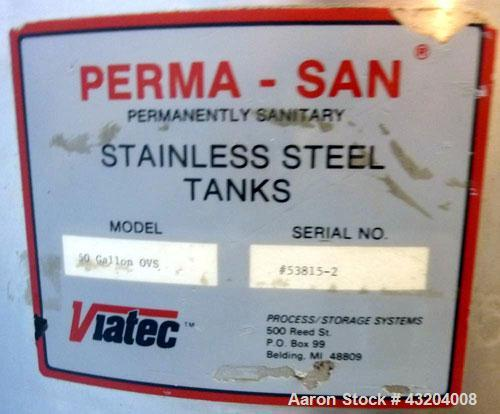Used- Perma-San Tank, 50 Gallon, Stainless Steel.  Open top, slope bottom, portable.