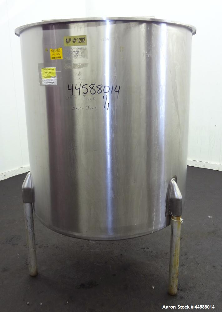 "Used- Perma-San Tank, 310 Gallons, Model OVS, 316 Stainless Steel, Vertical. Approximately 44"" diameter x 46"" straight side,..."