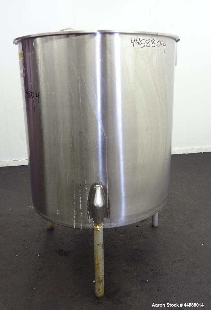 """Used- Perma-San Tank, 310 Gallons, Model OVS, 316 Stainless Steel, Vertical. Approximately 44"""" diameter x 46"""" straight side,..."""