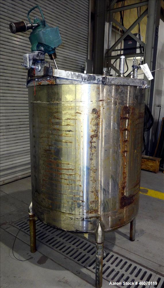 """Used- Perry Products Tank, Approximate 300 Gallon, 304 Stainless Steel, Vertical. Approximate 44"""" diameter x 50"""" straight si..."""