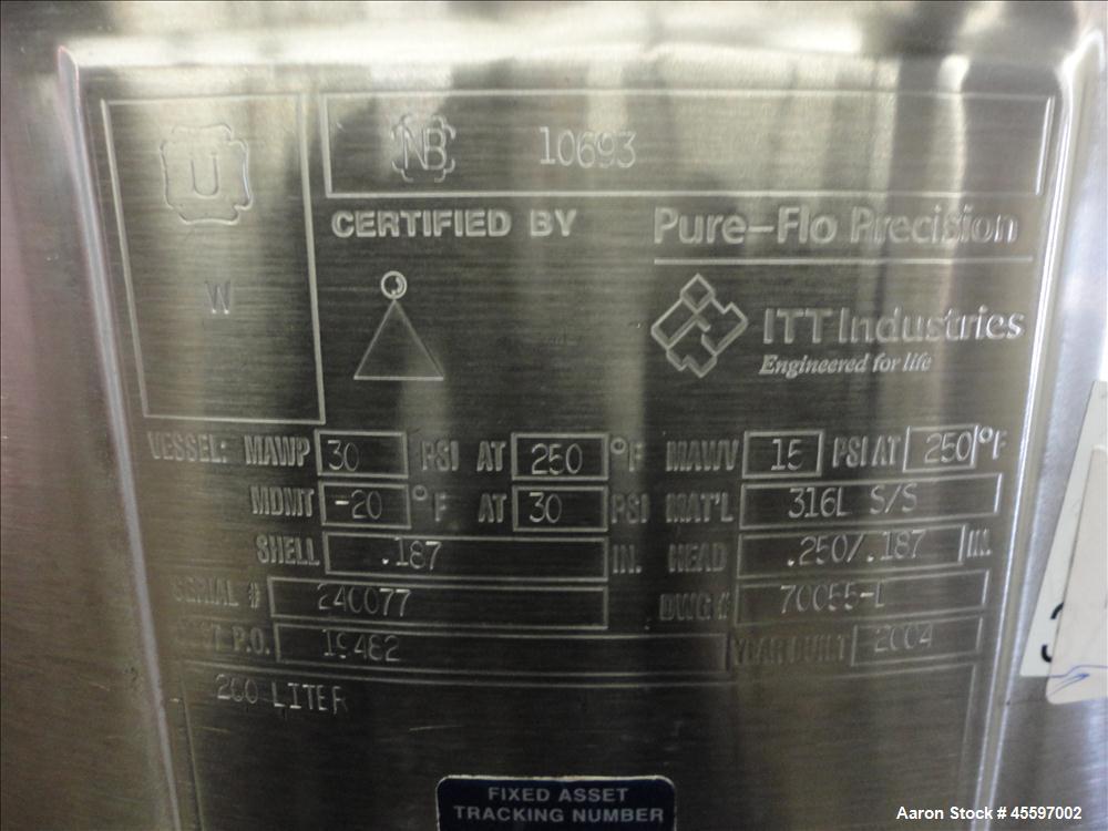 Used- 200 Liter Stainless Steel Pressure Tank