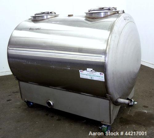 """Used- Precision Tank & Equipment Tank, 430 Gallon, 304 Stainless Steel, Horizontal. 44"""" Diameter x 60"""" straight side, dished..."""