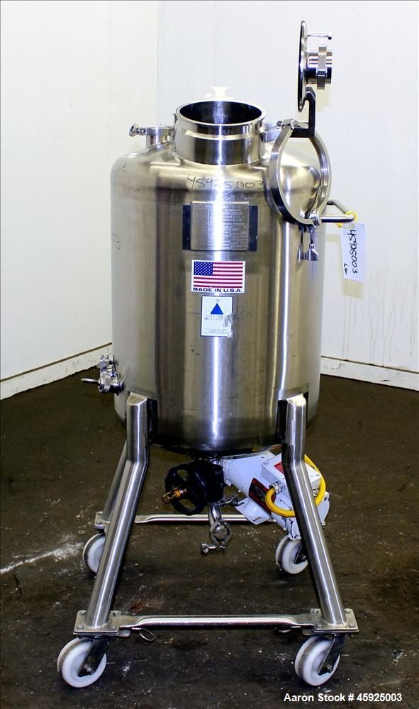 "Used- Precision Stainless Pressure Tank, 39.6 Gallon (150 Liter), 316L Stainless Steel, Vertical. 22"" diameter x 24"" straigh..."
