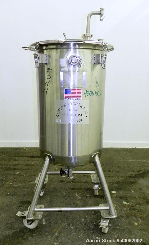 Used- Precision Stainless Tank, 200 Liter (52.8 Gallon), 316L Stainless Steel, Vertical. 22'' Diameter x 33'' straight side....