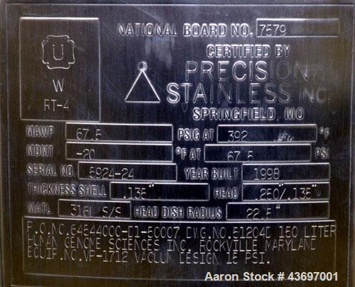 """Used- Precision Stainless Pressure Tank, 39.6 Gallon (150 Liter), 316L Stainless Steel, Vertical.  22-1/2"""" Diameter x 24"""" st..."""