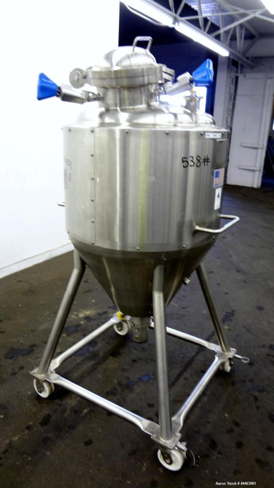 """Used- Precision Stainless Pressure Tank, 210 Liter (55.49 Gallon), 316 L Stainless Steel, Vertical.  Approximately 26.75"""" di..."""