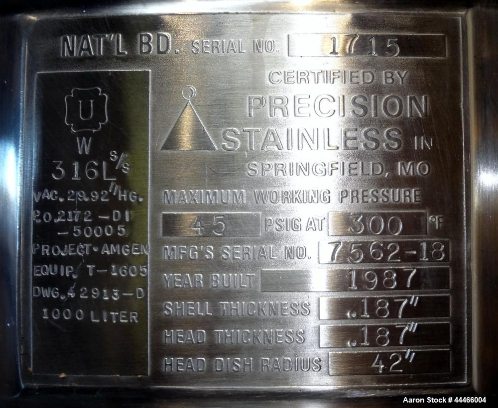 Used- 1000 Liter Stainless Steel Precision Stainless Pressure Tank, Model XJSS-3