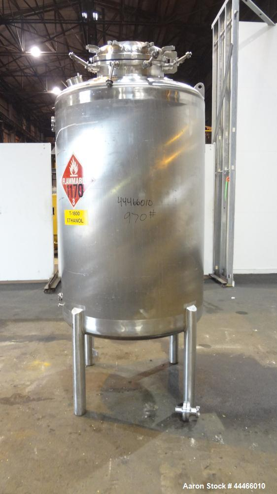 "Used- Precision Stainless Pressure Tank, 1750 Liter (462 Gallon), 316L Stainless Steel, Vertical. 44"" Diameter x 60"" straigh..."