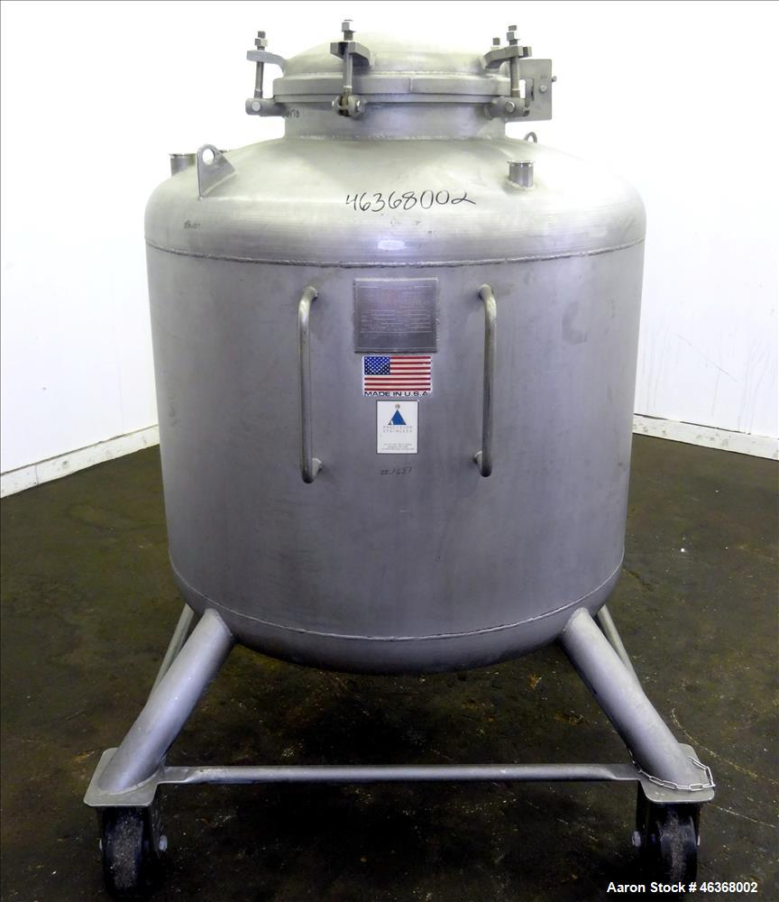 """Used- Precision Stainless Pressure Tank, 207 Gallon, 316L Stainless Steel, Vertical. 42"""" Diameter x 28"""" straight side, dishe..."""