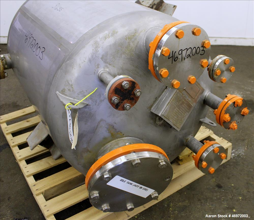 Used- Precision Stainless Tank, 100 Gallons, 316 Stainless Steel, Vertical.