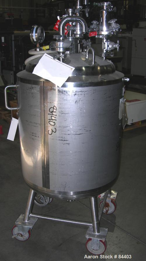 """USED: Precision Stainless pressure tank, 53 gallon, 316L stainless steel, polished internal. 24"""" diameter x 32"""" straight sid..."""