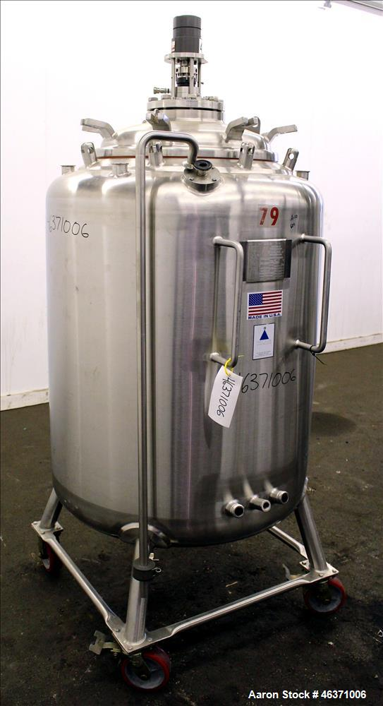 """Used- Precision Stainless Pressure Tank, 600 Liter (158.50 Gallon), 316L Stainless Steel, Vertical. 36"""" Diameter x 36"""" strai..."""