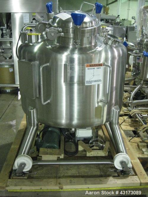 """Used- Pure Flo Agitated Receiver, 500 Liter (132 Gallon), 316L Stainless Steel Construction. Approximately 42"""" diameter x 21..."""