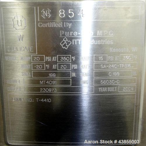 Used- 130 Gallon Stainless Steel Pure-Flo Pressure Tank