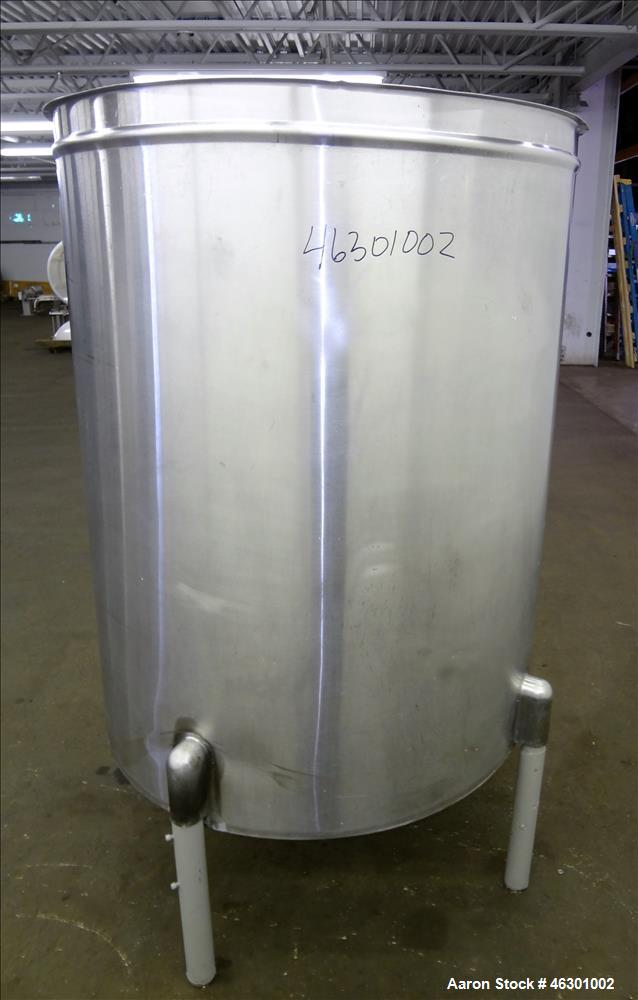 """Used- San-I-Tank, Approximately 320 Gallons, 304 Stainless Steel, Vertical. Approximately 43"""" diameter x 52"""" straight side, ..."""