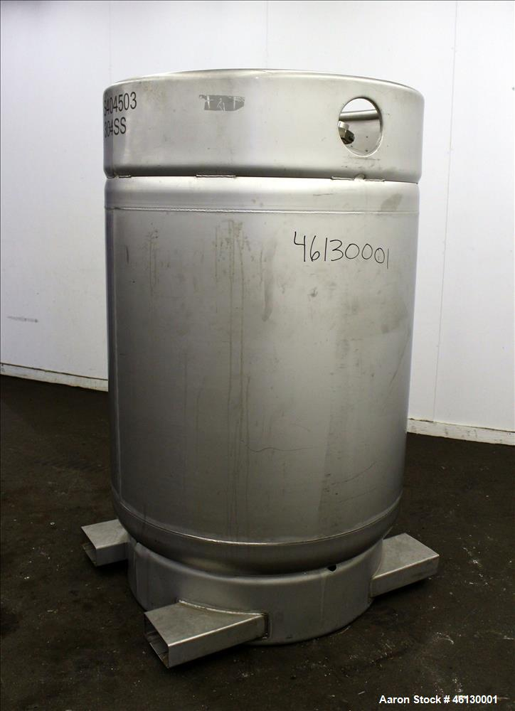 "Used- Sharpville Container Pressure Tank, 1250 Liter (330 Gallon), 304 Stainless Steel. 44-7/8"" Diameter x 41"" straight side..."
