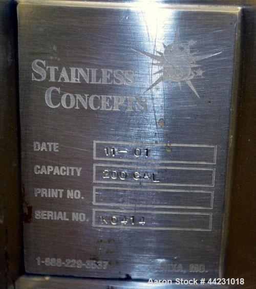 """Used- Stainless Concepts Balance Tank, 200 Gallon, 316 Stainless Steel, Vertical. Approximate 50"""" diameter x 23"""" straight si..."""
