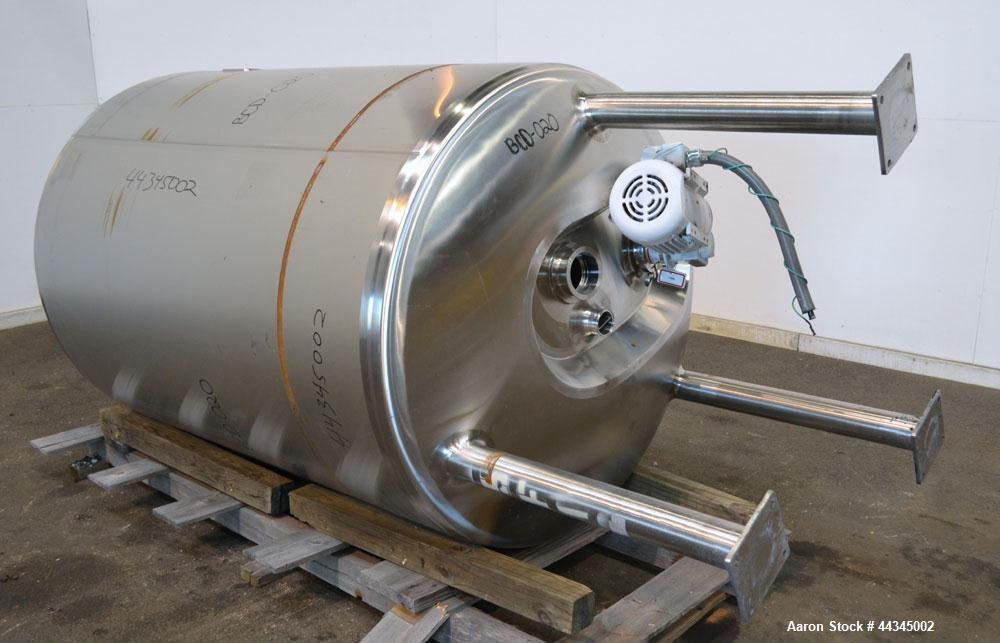 "Used- Stainless Fabrication Pressure Tank, 440 Gallon, 316 Stainless Steel, Vertical. 42"" Diameter x 72"" straight side, dish..."