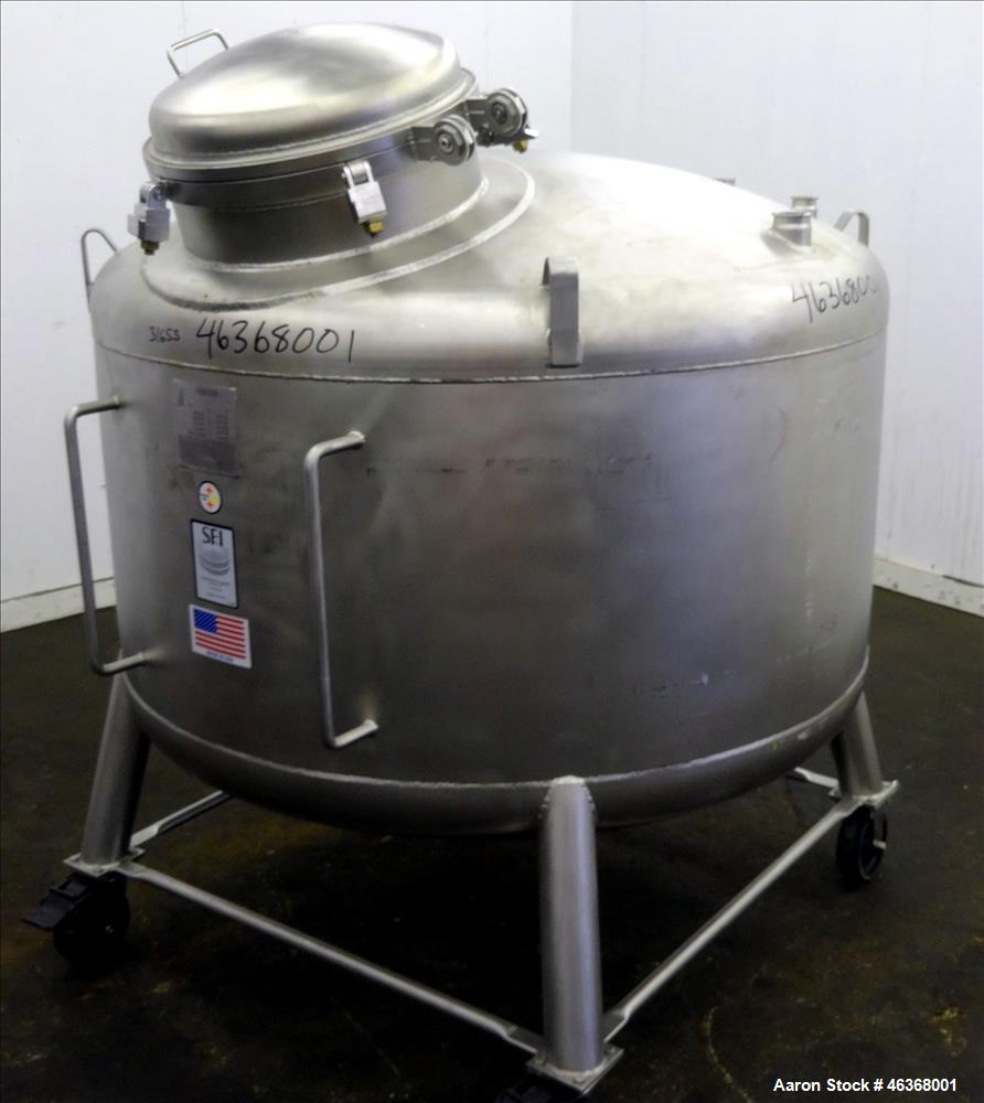"""Used- Stainless Fabrication Pressure Tank, 275 Gallons, 316L Stainless Steel, Vertical. 54"""" Diameter x 23-1/2"""" straight side..."""