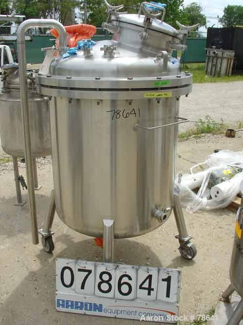 """Used- Stainless Fabrication Pressure Tank, 200 Gallon, 316 Stainless Steel, Vertical. 36"""" diameter x 37-3/4"""" straight side. ..."""