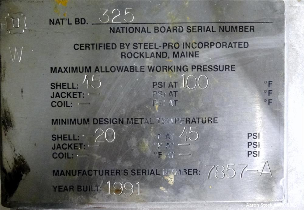 Used- Steel-Pro Incorporated Pressure Tank, 100 Gallon, 316 Stainless Steel, Ver