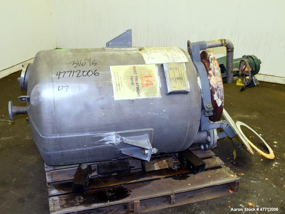 """Used- Steel-Pro Incorporated Pressure Tank, 100 Gallon, 316L Stainless Steel, Vertical. 30"""" Diameter x 34"""" straight side, di..."""