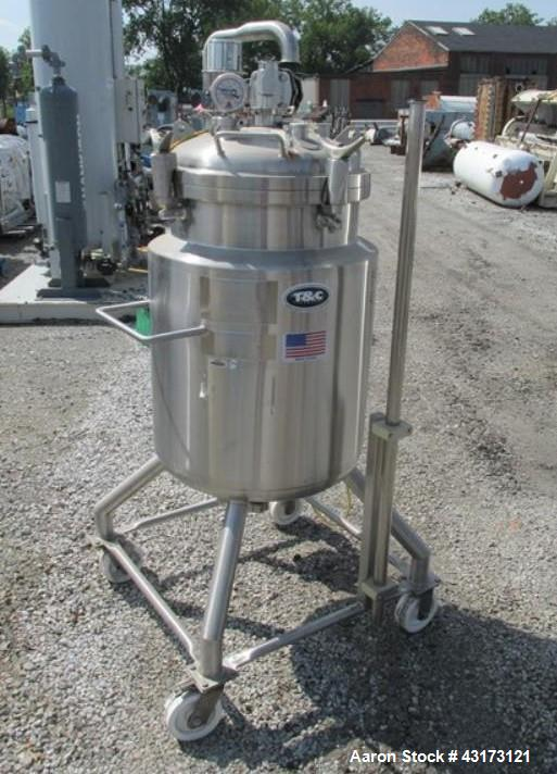 "Used- T & C Stainless receiver,150 liter, 316L stainless steel construction, approximately 20"" diameter x 28"" straight side,..."