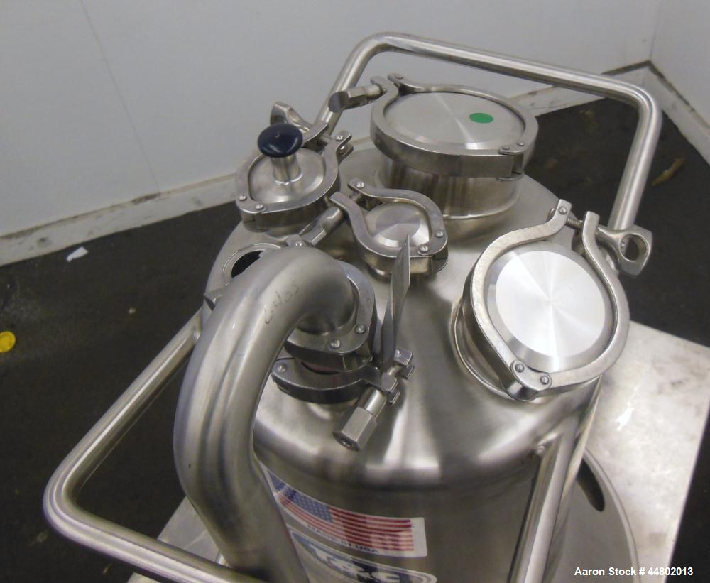 "Used- T&C Stainless Pressure Tank, 20 Liters (5.2 Gallons), 316L Stainless Steel, Vertical.  Approximately 12"" diameter x 12..."