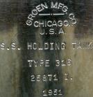 Used- Groen Tank, 18 Gallon, 316 Stainless Steel, Vertical. 15-1/2