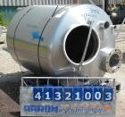 Used- Tank, 375 Gallon, 304 Stainless Steel, Vertical. Approximately 46