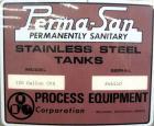 "Used- Perma-San Tank, 120 Gallon, Model CVS, 304 Stainless Steel, Vertical. 38"" Diameter x 24"
