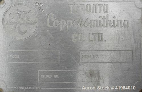 """Used- Toronto Coppersmithing Percolator Tank, 300 gallon, 304 stainless steel, vertical. Approximately 34"""" diameter x 77"""" st..."""
