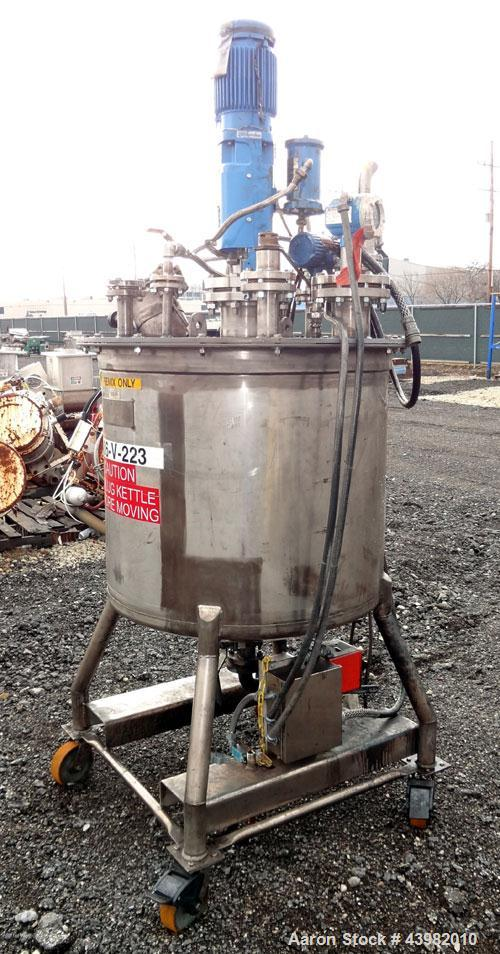 """Used- Val-Fab Tank, 150 Gallon, 316L Stainless Steel, Vertical. 36"""" Diameter x 31"""" straight side, flat bolt on top, dished b..."""