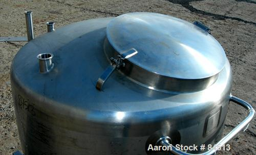 """USED: Walker Tank, 100 gallon, 304 stainless steel, vertical. 42"""" diameter x 16"""" straight side. Dished top, coned bottom. Op..."""