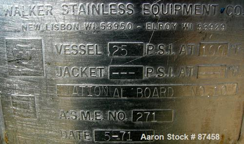 Used- 120 Gallon Stainless Steel Walker Stainless Pressure Tank