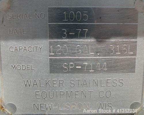 Used- 120 Gallon Stainless Steel Walker Stainless Tank, Model SP-7144, 316