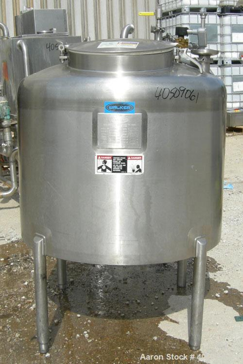 """Used- Walker Tank, 100 Gallon, 316L Stainless Steel, Vertical. 36"""" diameter x 27"""" straight side, dished top, sloped bottom. ..."""